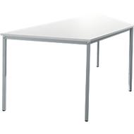 Stahlrohr-Tisch, Trapez,  B 1600/800 x T 690 mm, weiß/aluweiß