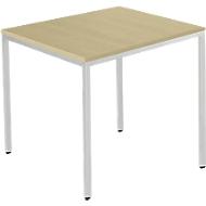 Stahlrohrtisch, Quadrat, Quadratrohrfuß, B 800 x T 800 x H 720 mm, Ahorn/weißaluminium