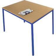 Stahlrohrtisch, Rechteck, Quadratrohrfuß, B 1200 x T 700 x H 720 mm, Buche/enzianblau