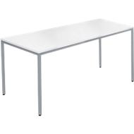 Stahlrohrtisch, Rechteck, Quadratrohrfuß, B 1400 x T 700 x H 720 mm, weiß/weißaluminium