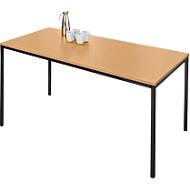 Stahlrohrtisch, Rechteck, Quadratrohrfuß, B 1400 x T 800 x H 720 mm, Buche/schwarz