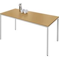 Stahlrohrtisch, Rechteck, Quadratrohrfuß, B 1600 x T 700 x H 720 mm, Buche/weißaluminium