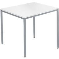 Stahlrohrtisch, Rechteck, Quadratrohrfuß, B 800 x T 700 x H 720 mm, weiß/weißaluminium