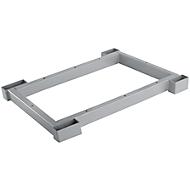 Stahlsockel TETRIS WOOD, Zurückgesetzt, für Regale/Schränke B 400 mm, weißalu