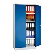 Stalen kast, B 920 x D 420 x H 1950 mm, lichtgrijs RAL 7035/gentiaanblauw RAL 5010