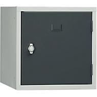 Stalen kubuskast, afsluitbaar, 380 mm, corpus grijs en deur antraciet RAL 7016