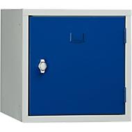Stalen kubuskast, afsluitbaar, 380 mm, corpus grijs en deur gentiaanblauw RAL 5010