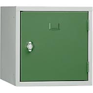 Stalen kubuskast, afsluitbaar, 380 mm, corpus grijs en deur groen RAL 6011