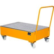 Stalen lekbak met wielen + greep, 1200 x 800 mm, oranje RAL 2000