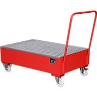 Stalen lekbak met wielen + greep, 1200 x 800 mm, rood RAL 3000
