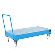 Stalen lekbak met wielen + greep, 1800 x 800 mm, blauw RAL 5012