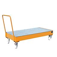 Stalen lekbak met wielen + greep, 1800 x 800 mm, oranje RAL 2000