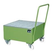 Stalen lekbak met wielen + greep, 800 x 800 mm groen RAL 6011