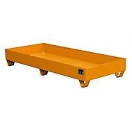 Stalen lekbak zonder rooster, 1800 x 800 mm, oranje RAL 2000