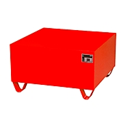 Stalen lekbak zonder rooster, 800 x 800 mm, rood RAL 3000