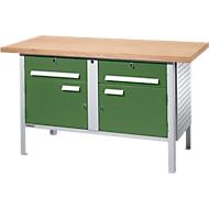 Stalen werkbank PW 150-0, B 1500 x D 700 x H 840 mm, lichtgrijs/groen