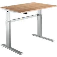 Standard bureau, C-poot, rechthoekig, hoogte elektrisch verstelbaar, B 1200 x D 800 x H 725-1185 mm, kersen Romana-decor