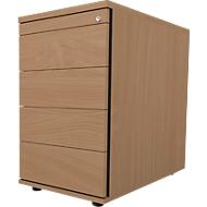 Standcontainer 13333, 1 Utensilienauszug, abschließbar, 3 Schübe, B 428 x T 800 x H 740 mm, Buche