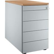 Standcontainer 13333, 5 Schubladen, weißalu/weißalu/Kirsche Romana-Dekor