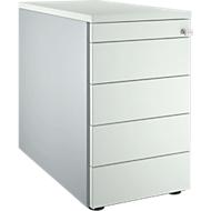 Standcontainer 13333, mit Griffnut, B 435 x H 717 mm, weißalu/lichtgrau/lichtgrau