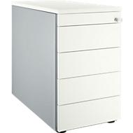 Standcontainer 13333, mit Griffnut, B 435 x H 717 mm, weißalu/weißalu/weiß