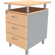 Standcontainer ARLON OFFICE, mit Tischplatte, 3 Schübe, B 450 x T 600 x H 730 mm, abschließbar, Buche