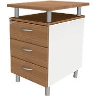 Standcontainer ARLON OFFICE, mit Tischplatte, 3 Schübe, B 450 x T 600 x H 730 mm, abschließbar, Canaletto/weiß