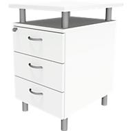 Standcontainer ARLON OFFICE, mit Tischplatte, 3 Schübe, B 450 x T 600 x H 730 mm, abschließbar, weiß