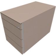 Standcontainer SOLUS PLAY, 1 Utensilienauszug, 3 Schübe, Tiefe 800 mm, grifflos, Stone grey