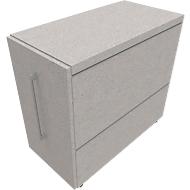 Standcontainer SOLUS PLAY, mit Auszug, Ansatz links, Tiefe 400 mm, Ceramic grey