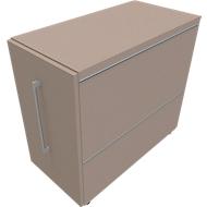 Standcontainer SOLUS PLAY, mit Auszug, Ansatz rechts, Tiefe 400 mm, Stone grey