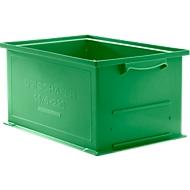 Stapelbak serie 14/6-230, van polypropeen, met handgreep, inhoud 26 l, groen