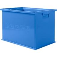 Stapelbak serie 14/6-2Z, van polypropeen, met handgreep, inhoud 33 l, blauw