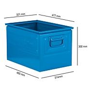 Stapelbak serie 14/6-2Z, van staal, inhoud 38,4 l, ideaal voor zware goederen, blauw