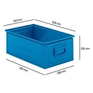 Stapelbak serie ST14/6-A, van staal, inhoud 27,7 l, ideaal voor zware goederen, blauw