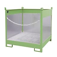 Stapelpallet voor vaten Bauer FSP-4 G, spatbeschermingswand 3-zijden, voor 4 x 200 l vaten, groen
