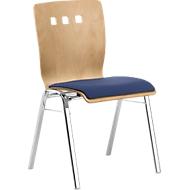 Stapelstoel 7450, voorgevormde zitting, lordosesteun, designgaten, zonder armleuningen, bekledingsstof Point/Trevira CS, blauw