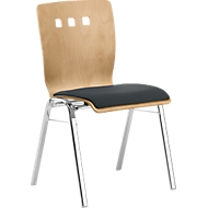 Stapelstoel 7450, voorgevormde zitting, lordosesteun, designgaten, zonder armleuningen, bekledingsstof Point/Trevira CS, grijs