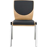 Stapelstoel 7450, voorgevormde zitting, lordosesteun, rugkussen, zonder armleuningen, bekledingsstof Point/Trevira CS, grijs