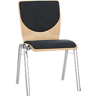 Stapelstoel 7450, voorgevormde zitting, lordosesteun, rugkussen, zonder armleuningen, bekledingsstof Point/Trevira CS, zwart