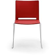 Stapelstoel ILike, incl. kunststof glijders, onderstel aluminiumgrijs gelakt, rood, 4 stuks