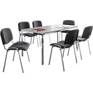 Stapelstoelen ISO BASIC, stof, antraciet, 6 stuks + 1 tafel, B 1600 mm SET