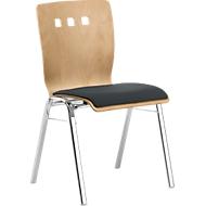 Stapelstuhl 7450, Formsitz, Lordosenstütze, Designerbohrungen, ohne Armlehnen, Bezugsstoff Point/Trevira CS, grau