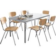Stapelstuhl CR 6 Stück + Tisch 1600 x 800 mm SET