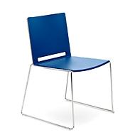 Stapelstuhl ILike, inkl. Kunststoffgleiter, Gestell verchromt, blau, 4 Stück