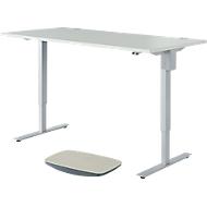 START UP bureau, elektrisch in hoogte verstelbaar, rechthoekig, C-onderstel, B 1600 x H 705-1205 mm, met balansboard, lichtgrijs