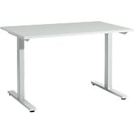 START UP bureautafel, T-poot, rechthoekig, staal/hout, B 1200 x D 800 x H 735 mm, lichtgrijs