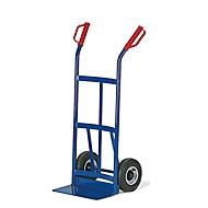 Steekwagen met gebogen achterkant, draagvermogen 200 kg, luchtbanden