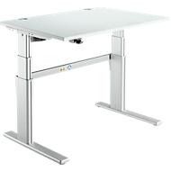 Steh-/Sitzarbeitsplatz Komfort, 1200 mm, lichtgrau/weißalu
