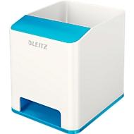 Stiftehalter Leitz WOW Sound, 1 Fach, Smartphone-Fach mit Soundverstärkung, weiß/blau